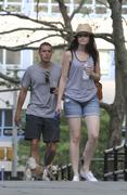 Alexis Bledel Walking Her Dog in Brooklyn Heights, New York on August 4, 2011